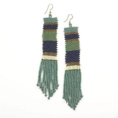 Ink + Alloy Gold, Mint, Teal, Navy Long Stripe Seed Bead Earrings