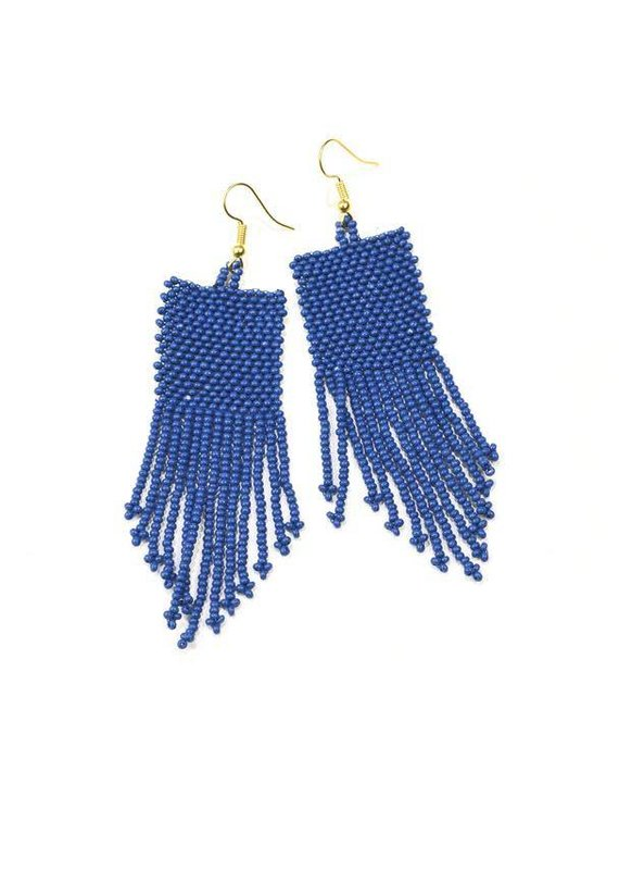 Ink + Alloy Lapis Seed Bead Earrings With Fringe