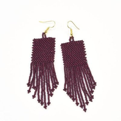 Ink + Alloy Port Seed Bead Earrings With Fringe
