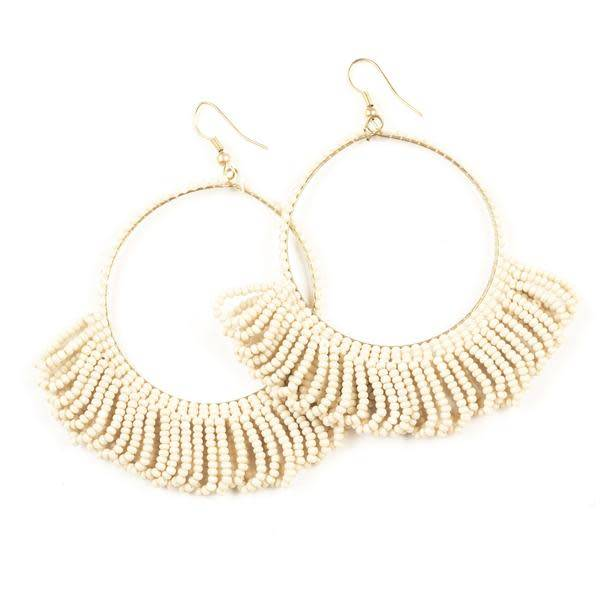 Ink + Alloy Ivory Fringe Hoop Seed Bead Earrings