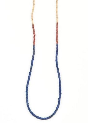 Ink + Alloy Rust and Lapis Simple Color Block Coconut Necklace