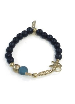 Ink + Alloy Charm Bracelet with Black Wood, Teal Glass and Brass