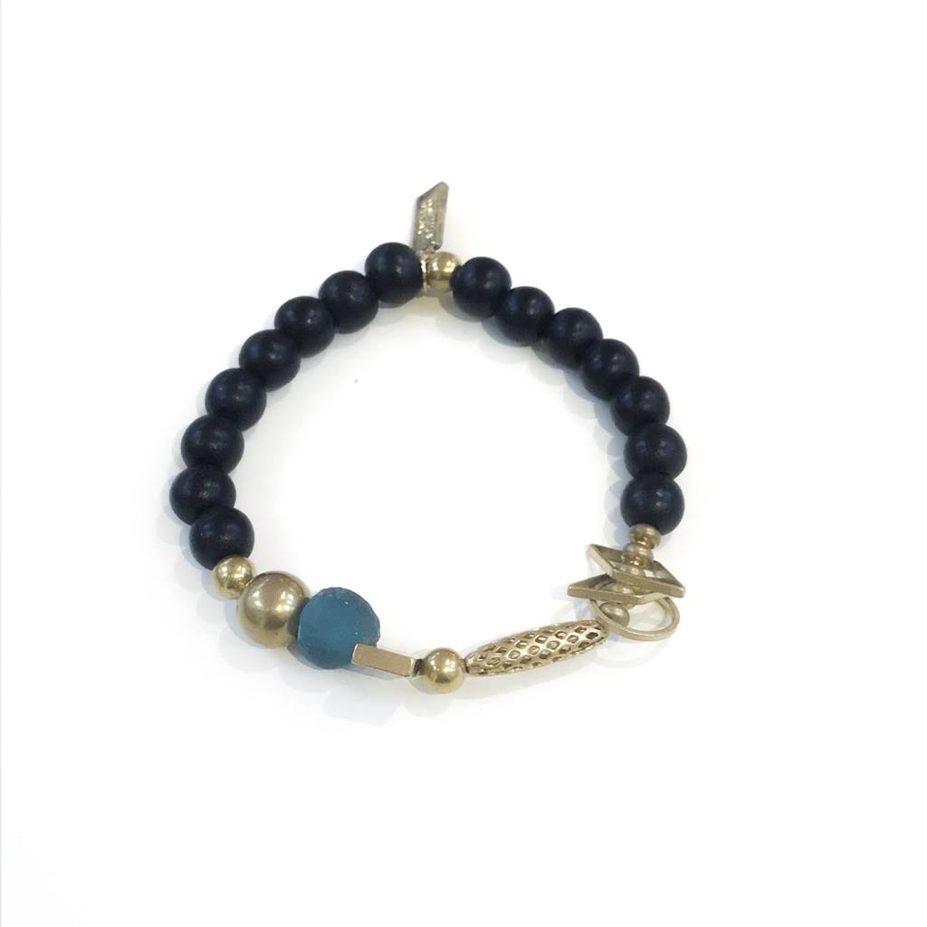 Ink Alloy Charm Bracelet With Black Wood Teal Gl And Br