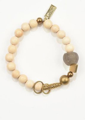 Ink + Alloy Charm Bracelet with Natural Wood, Taupe Glass and Brass