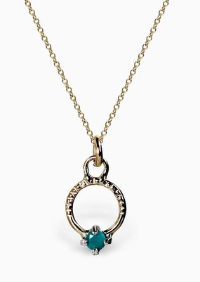 Sloane Turquoise Gemstone Circle Necklace 14k Gold