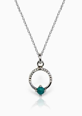 Sloane Turquoise Gemstone Circle Necklace Sterling Silver