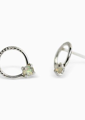 Sloane Sterling Silver Opal Circle Stud Earrings