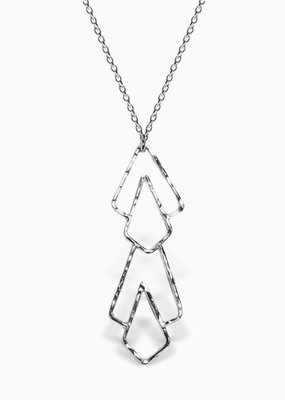 Sloane Sterling Silver Deco Pattern Long Necklace