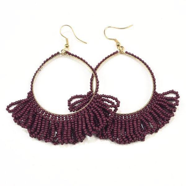 Ink + Alloy Port Fringe Hoop Seed Bead Earrings