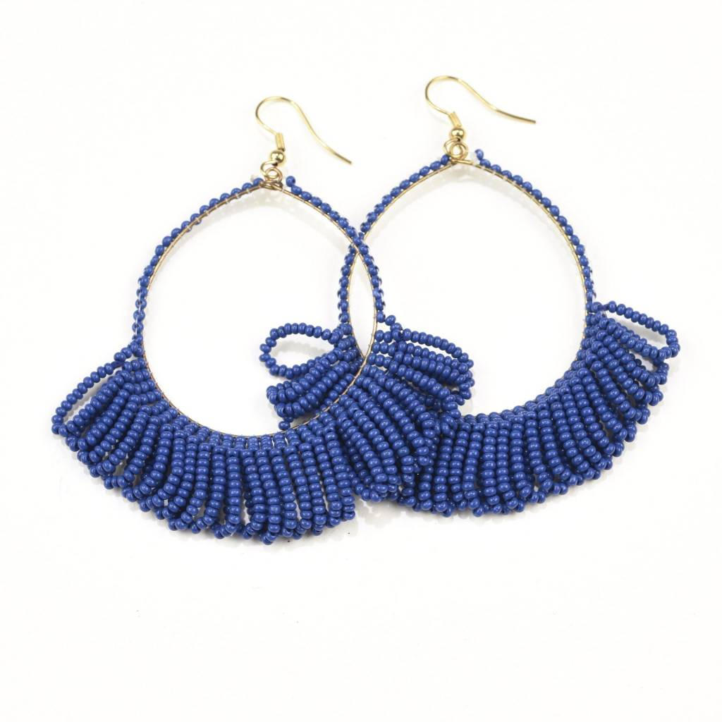 Ink + Alloy Lapis Fringe Hoop Seed Bead Earrings