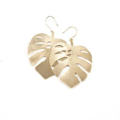 Ink + Alloy Brass Monstera Leaf Dangle Earrings