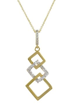 Two Tone Layered Square Gold Necklace