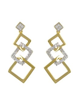 Two Tone Layered Square Earrings