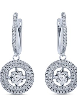 Sterling Silver Dancing Diamond Cubic Zirconia Round Earrings