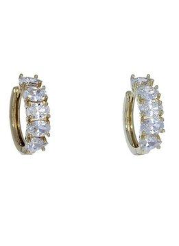 Gold Five Oval CZ Hoop Earrings
