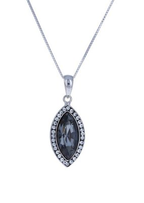 Sterling Silver Marquise Pendant with Gray Swarovski Crystal Necklace