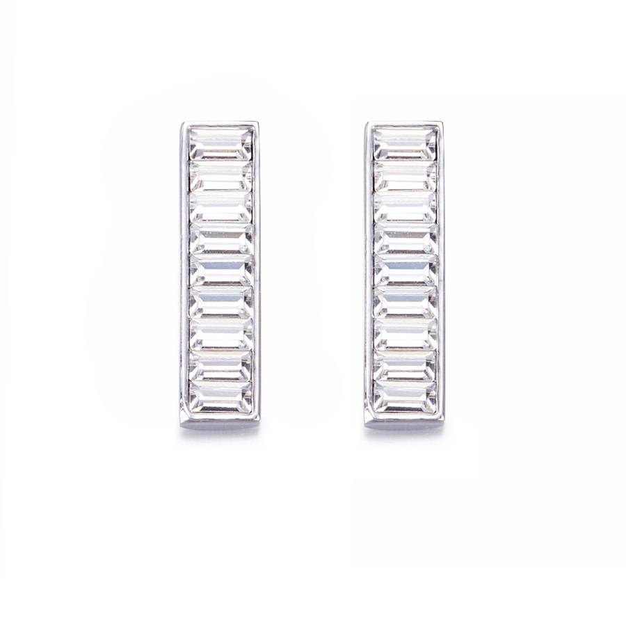 Vertical Bar Earrings with Swarovski Crystals