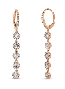 Rose Gold Drop Dangle Pave Earrings w/ Swarovski Crystals