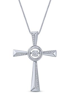 Sterling Silver Dancing Stone Pendant Fancy Cross Paved w/ Cubic Zirconia