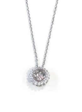 "Italian Sterling Silver Swarovski Dancing ""Stone"" Necklace"