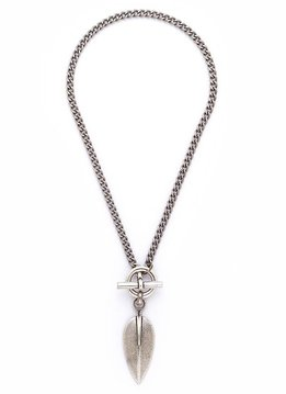 Trades Silver Necklace With Silver Leaf