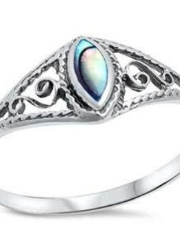 Sterling Silver Abalone Shell Filigree Ring