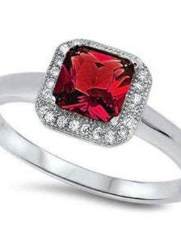 Sterling Silver Cushion Cut Cubic Zirconia Ruby Ring