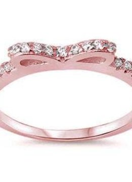Sterling Silver Rose Gold Plated and Cubic Zirconia Bow Ring