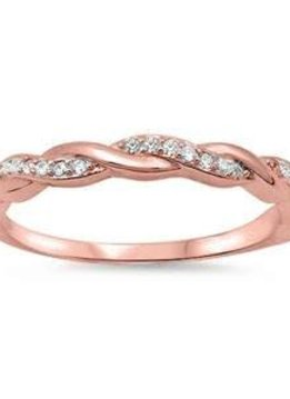 Sterling Silver Rose Gold Plated CZ Braided Infinity Ring