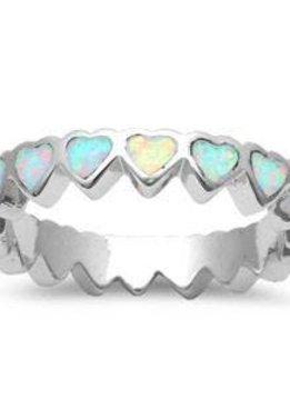 Sterling Silver White Opal Hearts Band Ring