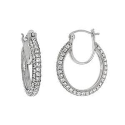 Sterling Silver and CZ Pave Hoop Earrings