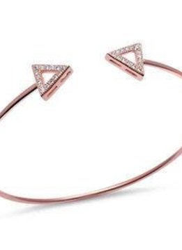 Sterling Silver Rose Gold Plated Cz Triangle Arrow Adjustable Bracelet