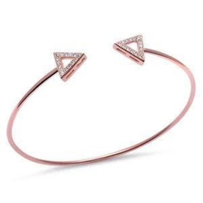 Sterling Silver Rose Gold Plated CZ Triangle Bracelet