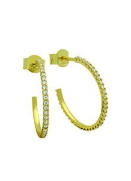Sterling Silver Gold Plated Semi Hoop Earring Paved with CZ Stones