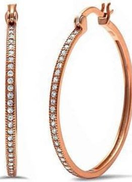 Sterling Silver Rose Gold Plated Hoop Earrings With Pave CZ Stones