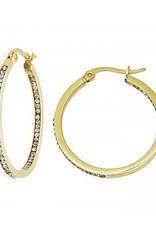 Gold Plated Crystal Pave Stainless Steel Hoop Earrings