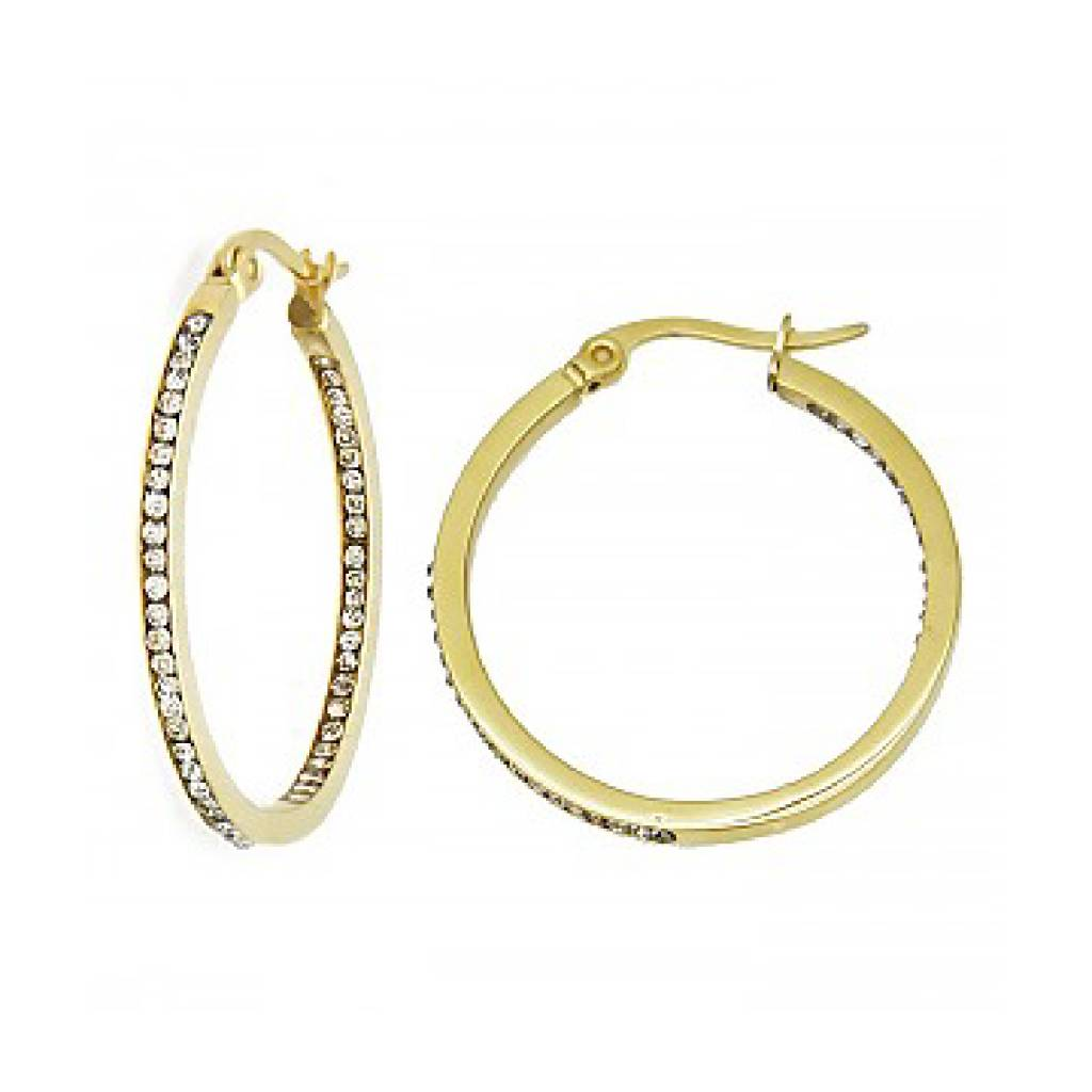 1inch Gold Plated Crystal Pave Stainless Steel Hoop Earrings
