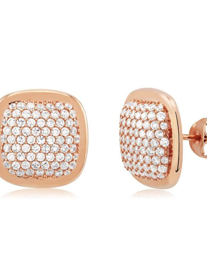 Rose Gold And Cubic Zirconia Pave Square Stud Earring