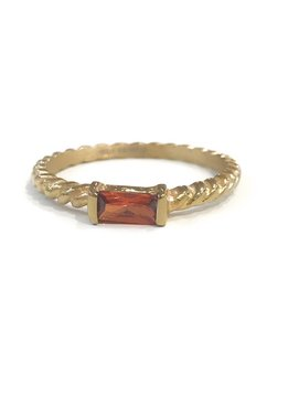 Gold Stainless Steel Twisted Band Red Stone Ring SZ 8