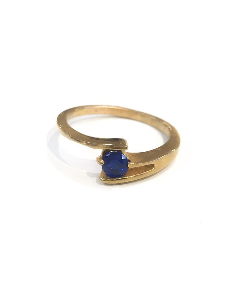 Stainless Steel Gold Plating with Blue CZ SZ 6
