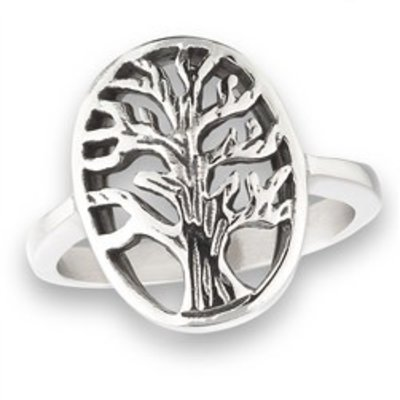 Stainless Steel Tree Ring  Silver 5