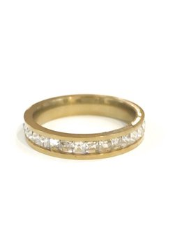 Stainless Steel Gold CZ Band SZ 7