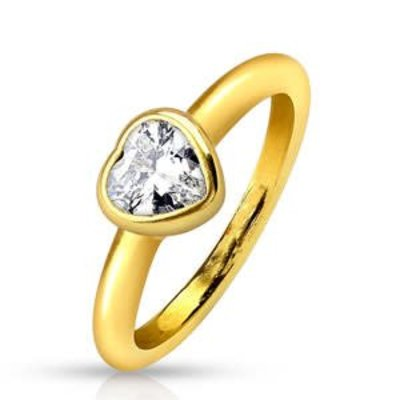 Stainless Steel Gold Bezel Heart Ring Gold 9