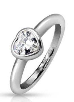 Stainless Steel Silver Bezel Heart Ring Silver 6