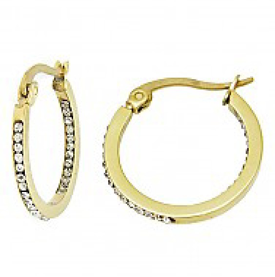 0.75inch Gold Plated Crystal Pave Stainless Steel Hoop Earrings