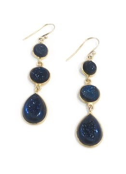 Blue Druzy Gold Plated Sterling Silver Earrings
