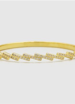 Gold Cubic Zirconia Bangle Bracelet