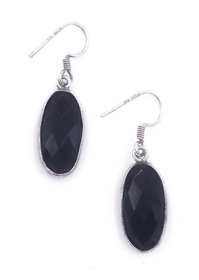 Qualita In Argento Italian Sterling Silver Onyx Earrings