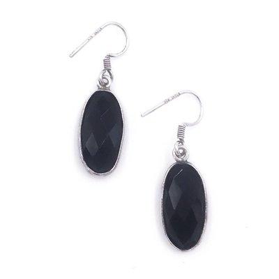 Qualita In Argento Italian Sterling Silver Onyx Earrings