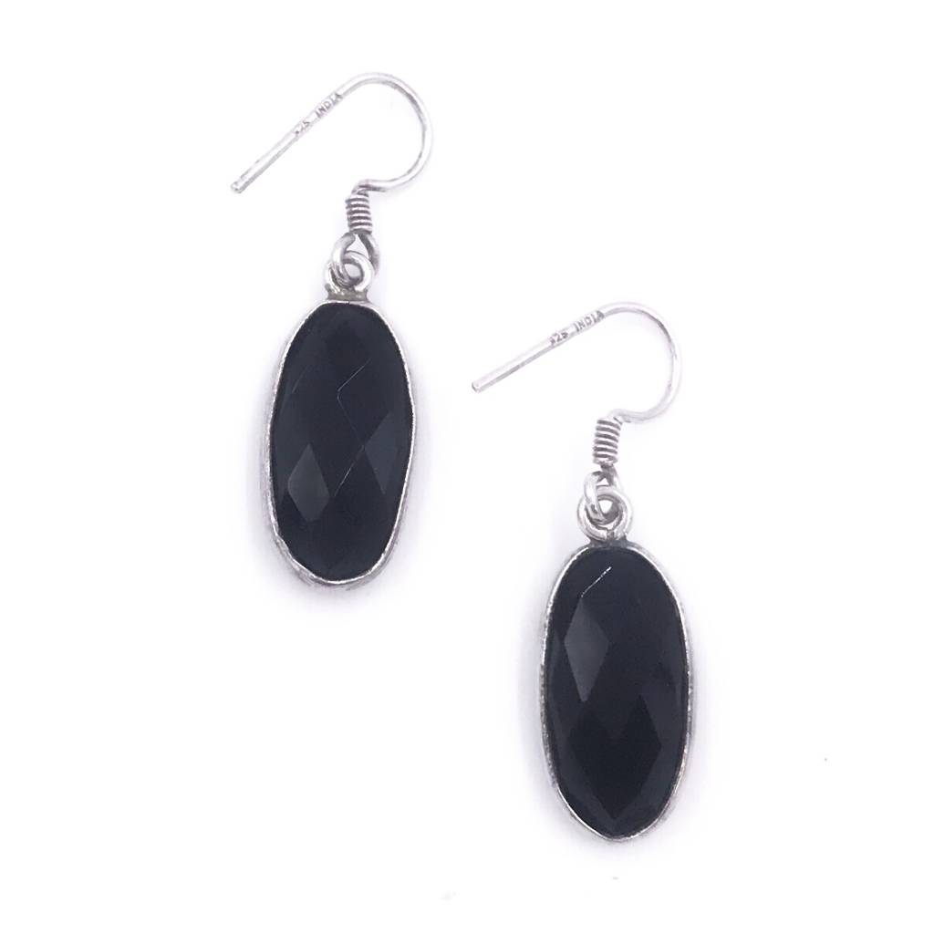 Italian Sterling Silver Onyx Earrings